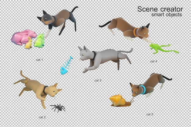 Katzenaktivität 3d illustration