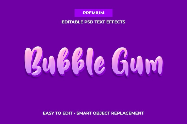 Kaugummi - süße farbe premium-texteffekt-vorlage