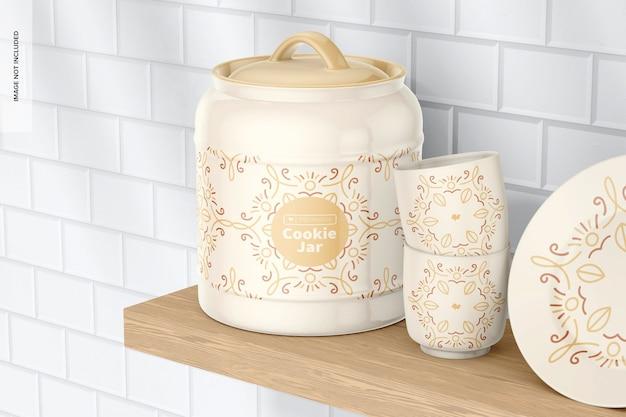 Keksdose aus keramik, auf einem regal