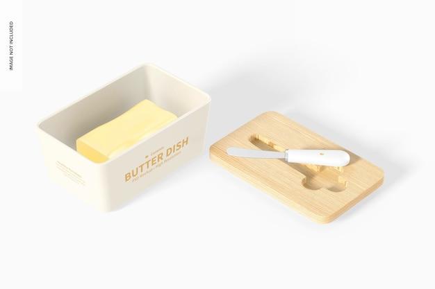 Keramik butterdose mit bambusdeckel mockup, perspektive 02