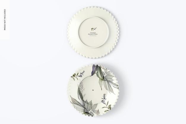 Keramik dessertteller mockup, ansicht von oben