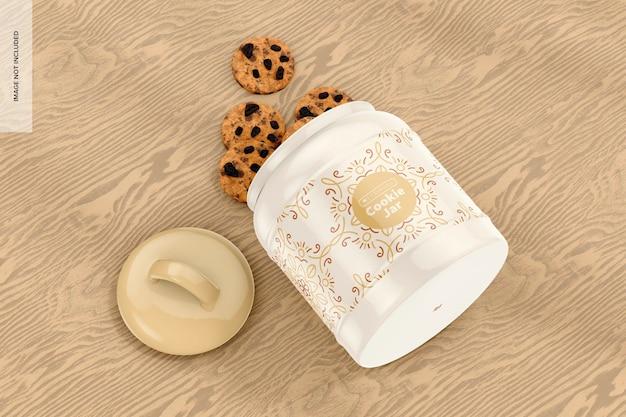 Keramik keksdose mockup, fallengelassen