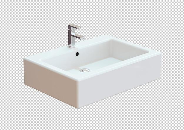 Keramik waschbecken badezimmer isoliert auf weißem hintergrund. 3d-rendering