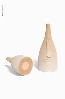 Keramikvasen-set mockup, vorder- und rückansicht