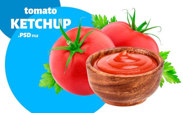Ketchup in schüssel, tomatensauce-paketkonzept