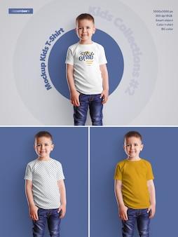 Kids boy t-shirt mockups. das design ist einfach beim anpassen des bilddesigns (auf dem t-shirt), der t-shirt-farbe und des farbigen hintergrunds