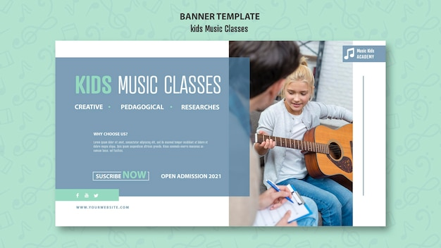 Kinder musikklassen konzept banner vorlage