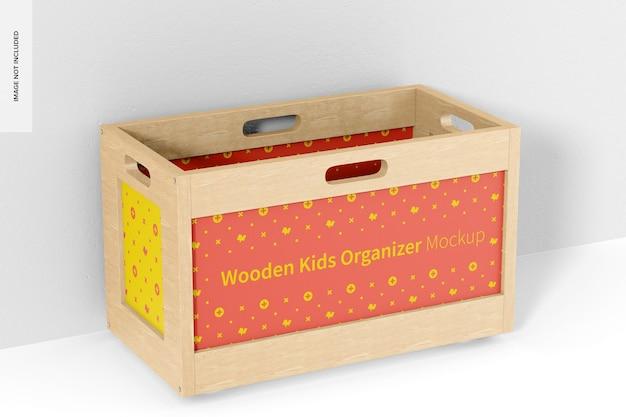 Kinder-organizer-modell aus holz, perspektive