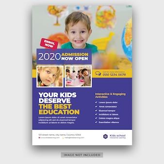 Kinder schule bildung zulassung flyer vorlage psd premium psd