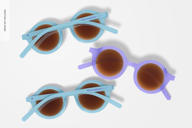 Kinder-sonnenbrillen-modell, ansicht von oben