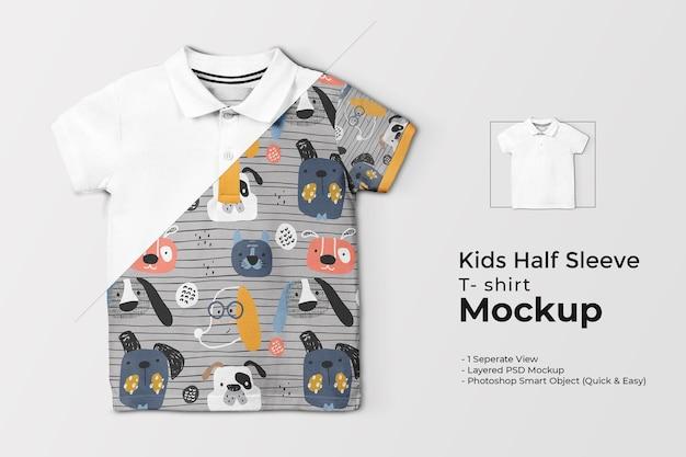 Kinder-t-shirt-modell mit halben ärmeln