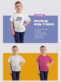 Kinder t-shirt modelle. das design ist einfach beim anpassen des bilddesigns (auf dem t-shirt), der t-shirt-farbe und des farbigen hintergrunds