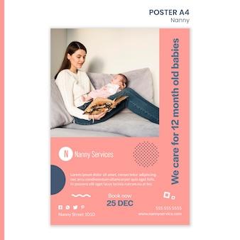 Kindermädchen dienstleistungen poster vorlage