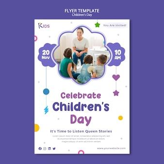 Kindertag flyer vorlagendesign