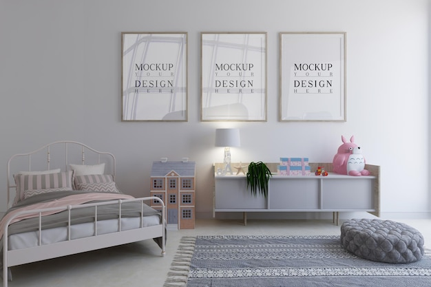 Kinderzimmer mit mockup-design-posterrahmen
