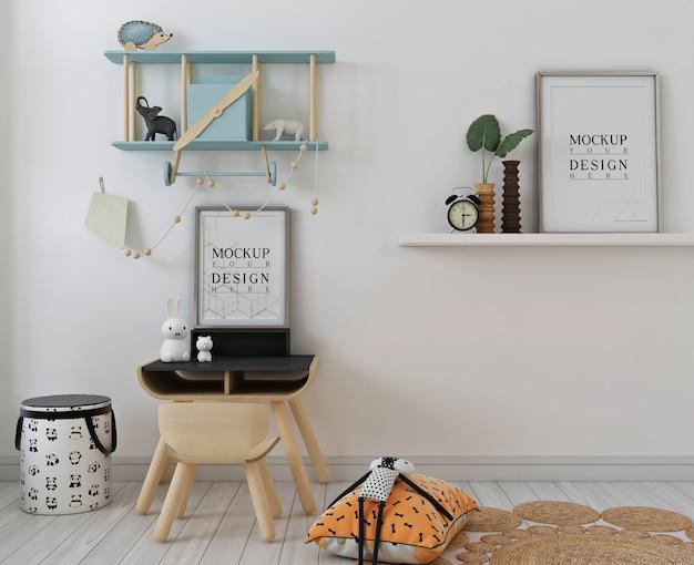 Kinderzimmer mit modellplakatrahmen