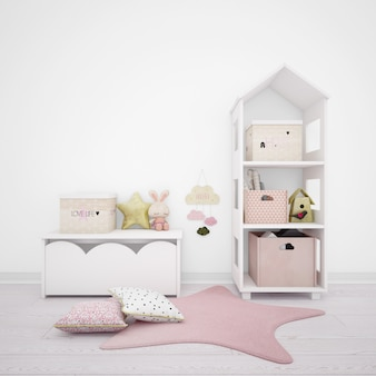 Kinderzimmer mit niedlichen gegenständen und weißen möbeln dekoriert