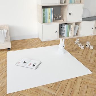 Kinderzimmer mit weißem teppich
