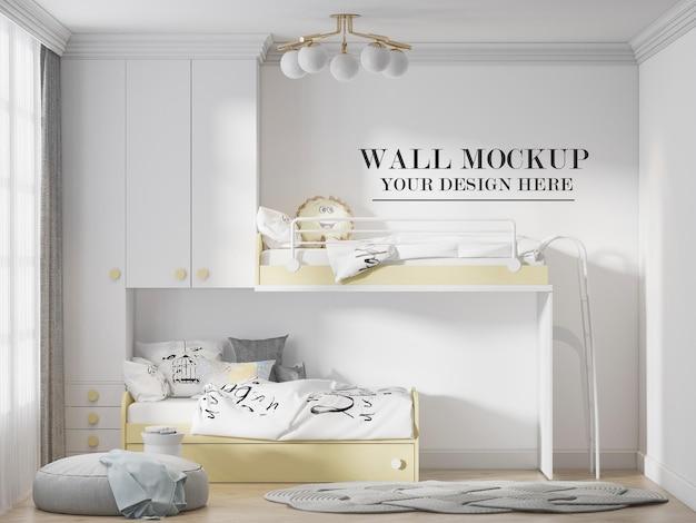 Kinderzimmerwandmodell hinter gelben weißen möbeln