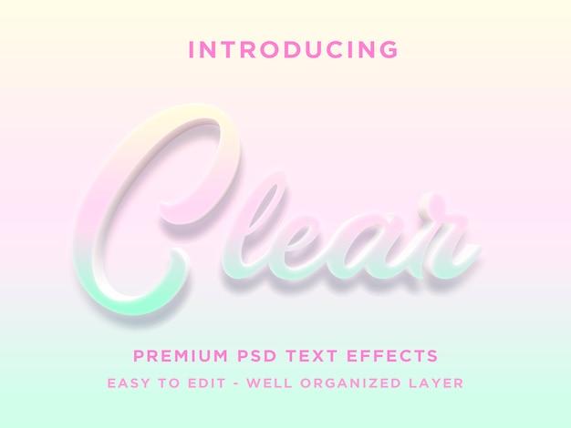 Klarer 3d-textstil effekt premium psd
