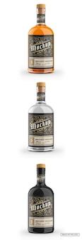 Klarglasflasche mit whisky mockup