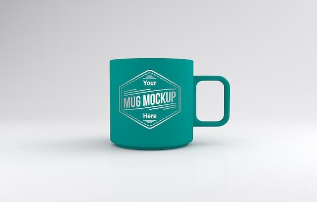 Klassische blaugrüne farbe mug mockup 3d gerendert isoliert