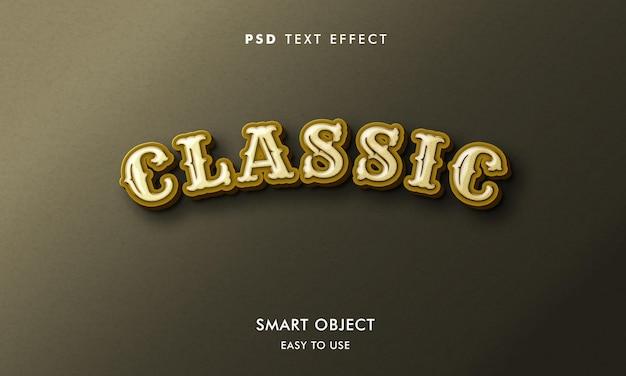 Klassische texteffektvorlage mit goldenen und weißen farben
