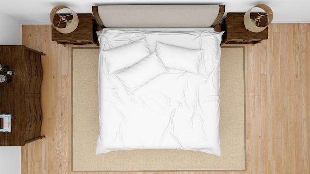 Klassisches schlafzimmer oder hotelzimmer mit doppelbett, draufsicht