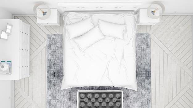 Klassisches schlafzimmer oder hotelzimmer mit doppelbett und eleganten möbeln, draufsicht