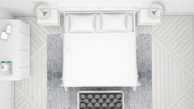 Klassisches schlafzimmer oder hotelzimmer mit doppelbett und eleganten möbeln, draufsicht Kostenlosen PSD