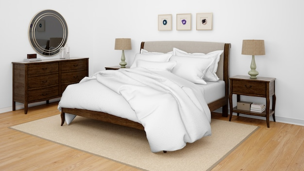 Klassisches schlafzimmer oder hotelzimmer mit doppelbett