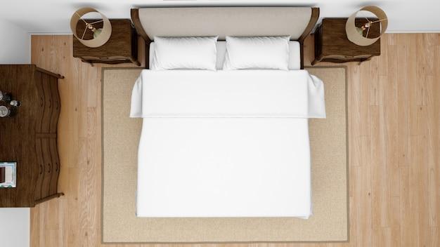 Klassisches schlafzimmer oder hotelzimmer mit kingsize-bett, draufsicht