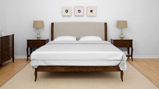 Klassisches schlafzimmer oder hotelzimmer mit kingsize-bett