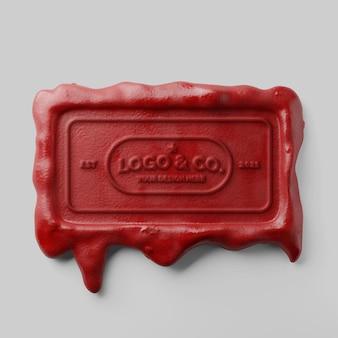 Klassisches traditionelles rechteck, das rote kerzenwachssiegel-texteffekt-logo-modell tropft