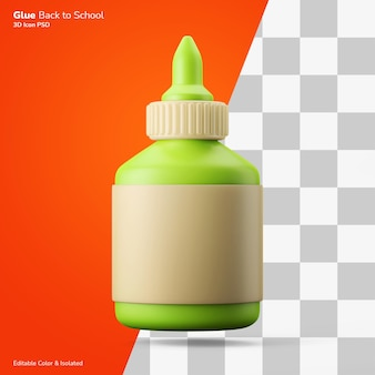 Klebstoff flüssigkleber flasche 3d-rendering-symbol bearbeitbare farbe isoliert