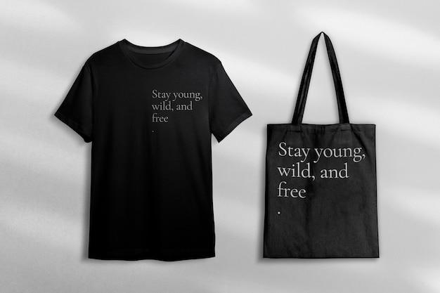 Kleidung mit t-shirt und tragetasche