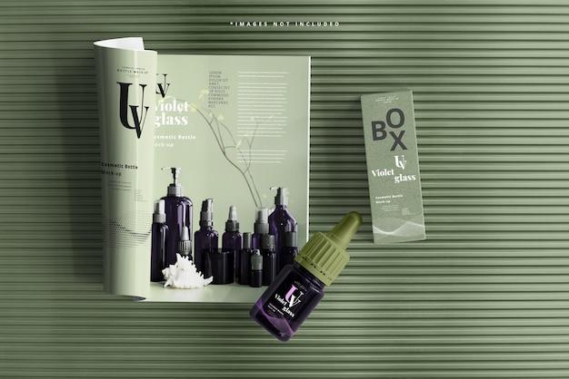 Kleine tropfflasche aus uv-glas mit magazinmodell