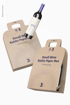 Kleine weinflaschen-papierboxen mockup, schwimmend