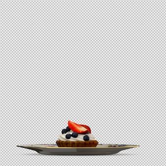 Kleiner kuchen 3d lokalisiert übertragen