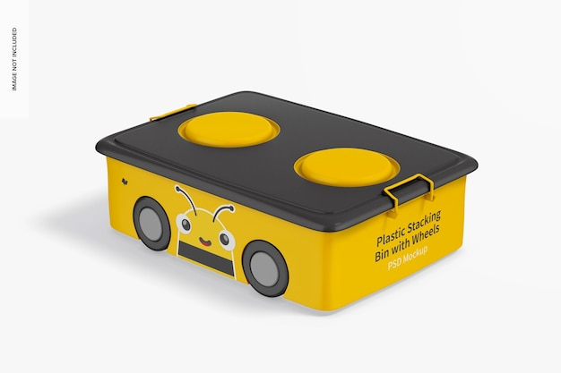 Kleiner stapelbehälter aus kunststoff mit rollenmodell
