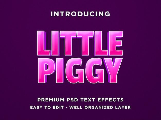 Kleiner text-effekt der piggy spiel-art-3d
