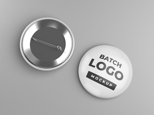 Knopfabzeichen oder pinback-modelldesign, vorder- und rückansicht