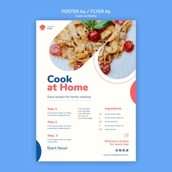 Koch zu hause konzept poster vorlage