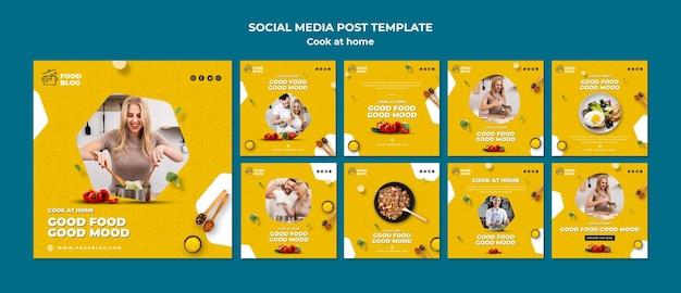 Kochen sie zu hause social-media-post