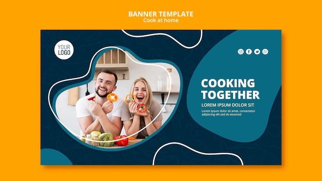 Kochen zu hause banner vorlage