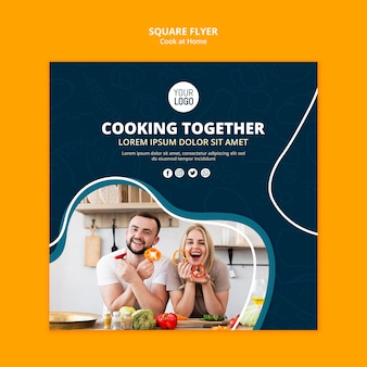 Kochen zu hause flyer-konzept