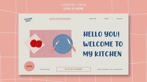 Kochen zu hause landingpage vorlage
