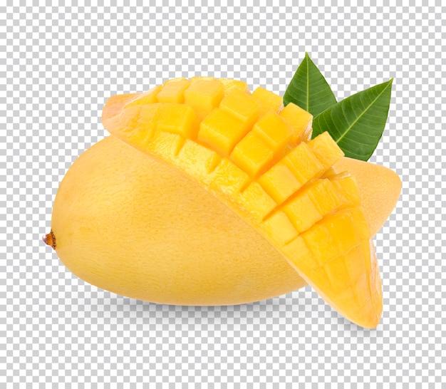 König der früchte, mangofrucht und in scheiben geschnitten mit blättern isoliert