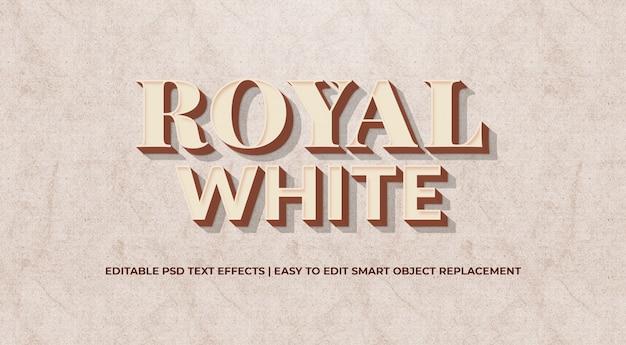 Königliche weiße art-effekt-prämie psd des textes 3d