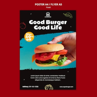 Köstliche burger-flyer-vorlage